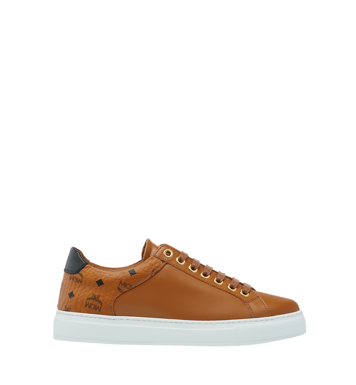 MCM Men's Low Top Sneakers in Visetos and Leather Cognac MEX9S2I03CO041 Alternate View 2