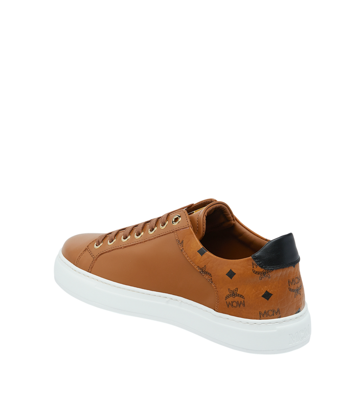 MCM Men's Low Top Sneakers in Visetos and Leather Cognac MEX9S2I03CO041 Alternate View 3