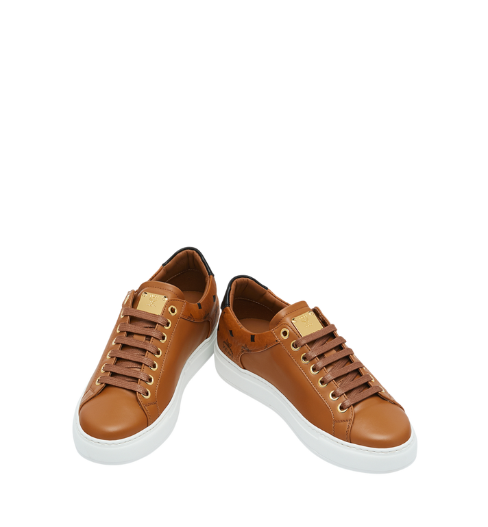 MCM Men's Low Top Sneakers in Visetos and Leather Cognac MEX9S2I03CO041 Alternate View 4