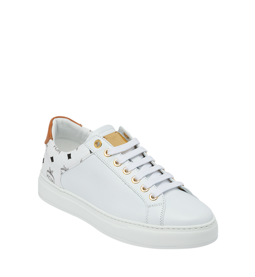 Men's Low Top Sneakers in Visetos and Leather