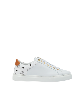 MCM Men's Low Top Sneakers in Visetos and Leather White MEX9S2I03WT044 Alternate View 2