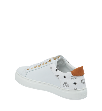 MCM Men's Low Top Sneakers in Visetos and Leather White MEX9S2I03WT044 Alternate View 3