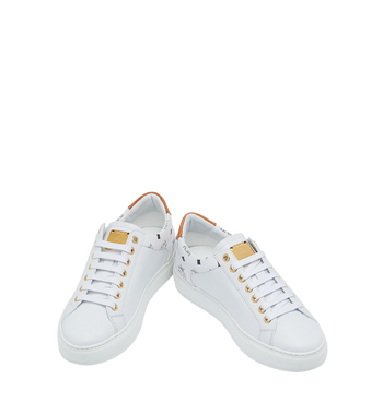 MCM Men's Low Top Sneakers in Visetos and Leather White MEX9S2I03WT044 Alternate View 4