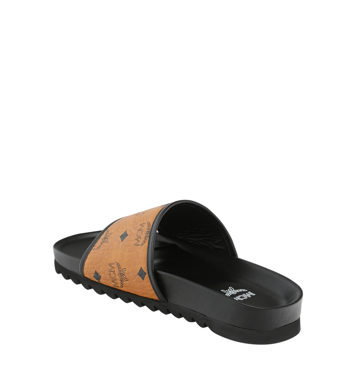 MCM Men's Slides in Visetos Cognac MEX9S2K05CO041 Alternate View 3