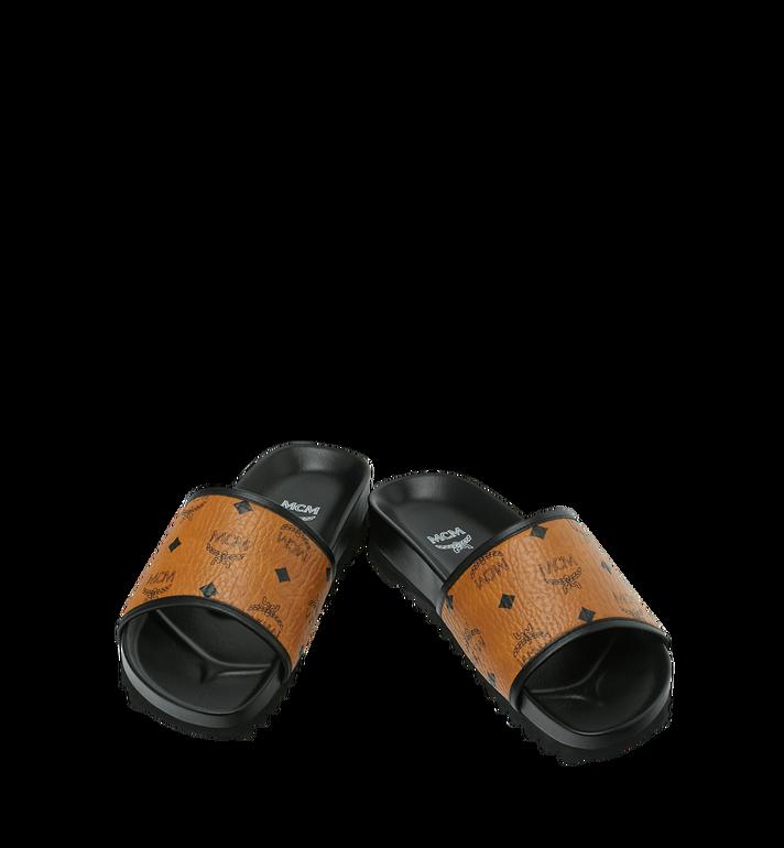 MCM Men's Slides in Visetos Cognac MEX9S2K05CO041 Alternate View 4
