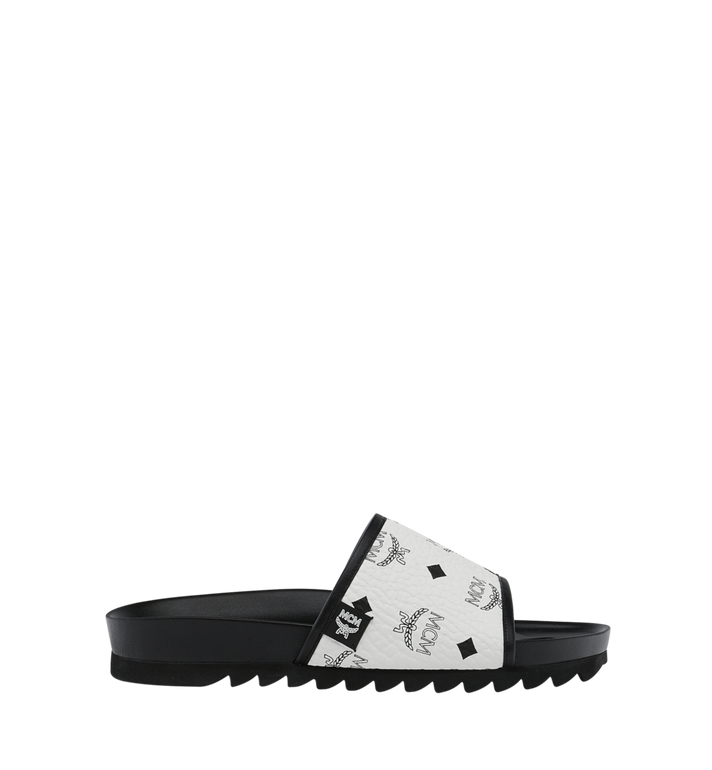 MCM Men's Slides in Visetos White MEX9S2K05WT041 Alternate View 2
