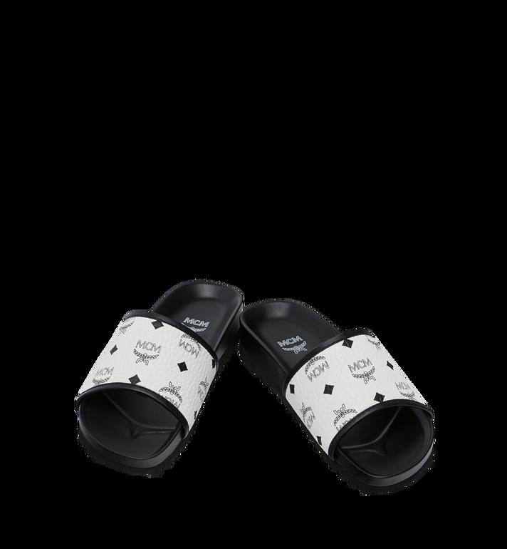 MCM Men's Slides in Visetos White MEX9S2K05WT041 Alternate View 4