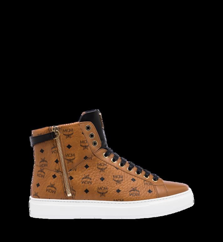 MCM Men's High-Top Logo Zip Sneaker in Visetos Cognac MEX9SMM02CO041 Alternate View 2