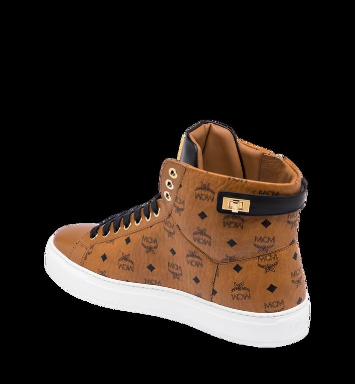 MCM Men's High-Top Logo Zip Sneaker in Visetos Cognac MEX9SMM02CO041 Alternate View 3