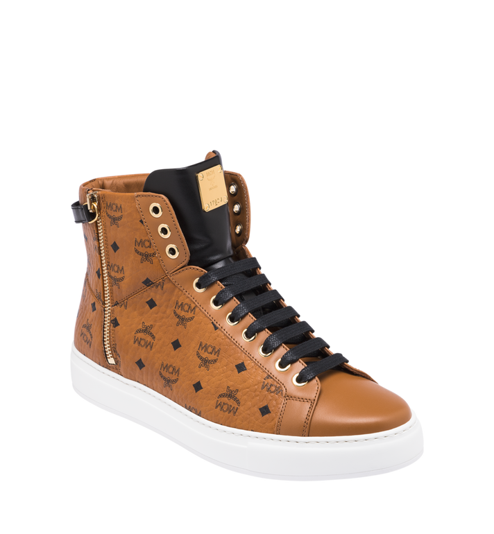 MCM Men's High-Top Logo Zip Sneaker in Visetos Alternate View