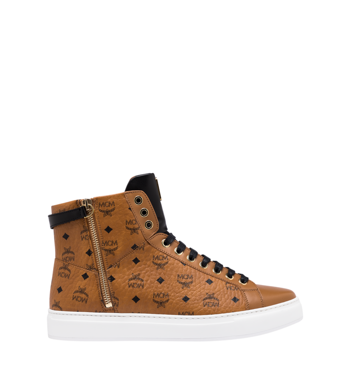 MCM Men's High-Top Logo Zip Sneaker in Visetos Cognac MEX9SMM02CO042 Alternate View 2