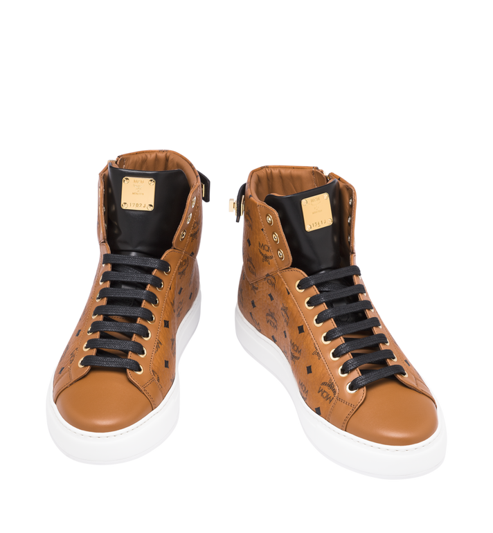 MCM Men's High-Top Logo Zip Sneaker in Visetos Cognac MEX9SMM02CO042 Alternate View 4