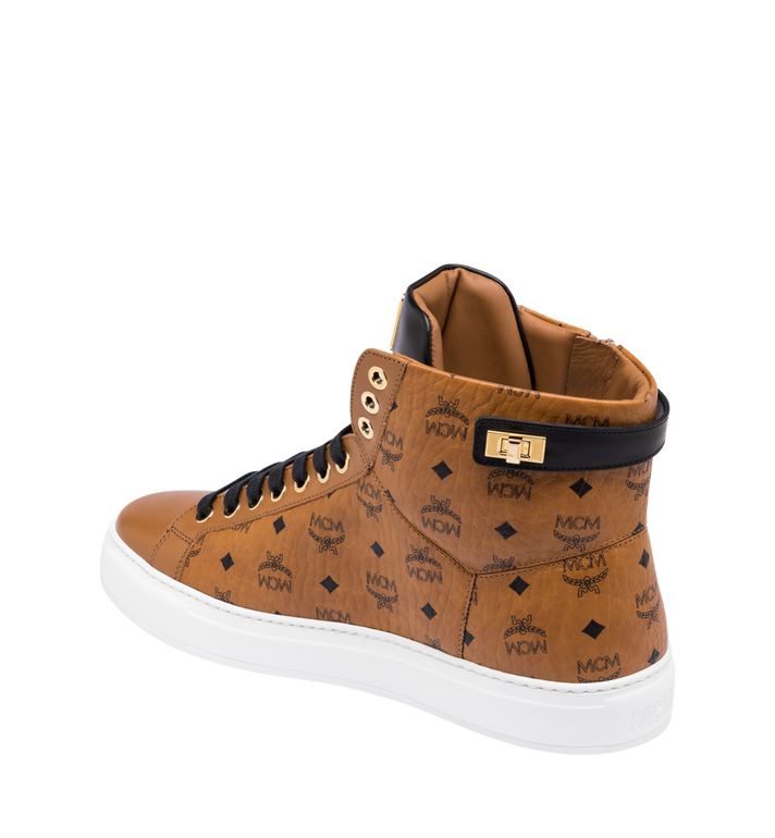 MCM Men's High-Top Logo Zip Sneaker in Visetos Cognac MEX9SMM02CO043 Alternate View 3