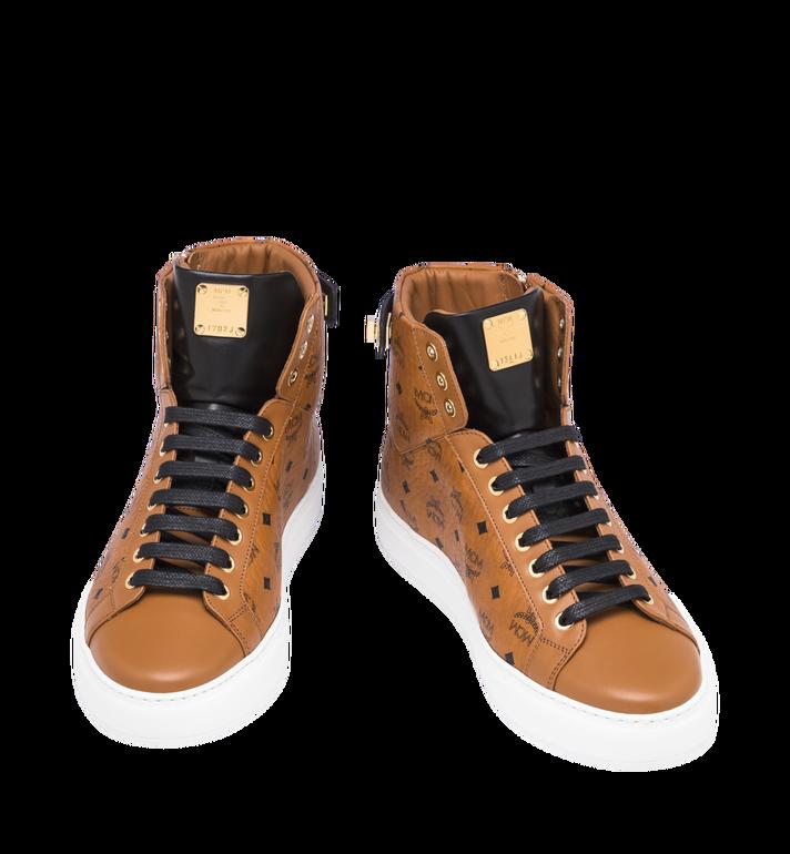 MCM Men's High-Top Logo Zip Sneaker in Visetos Cognac MEX9SMM02CO043 Alternate View 4