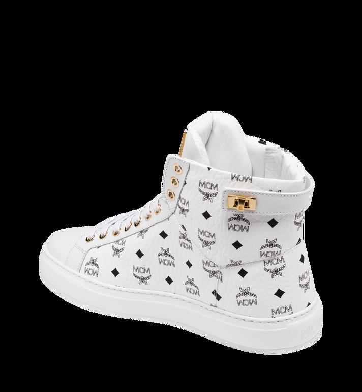 MCM Men's High-Top Logo Zip Sneaker in Visetos White MEX9SMM02WT043 Alternate View 3