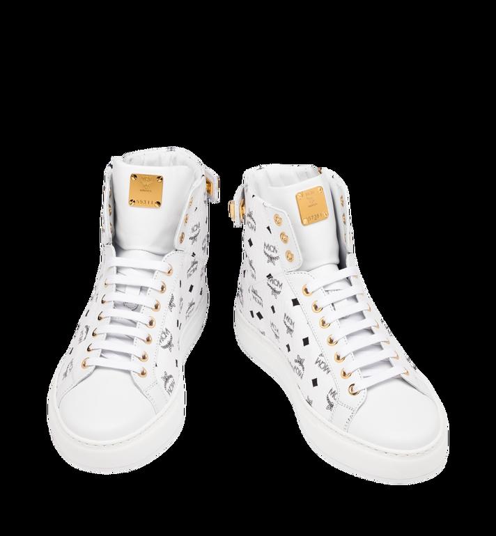 MCM Men's High-Top Logo Zip Sneaker in Visetos White MEX9SMM02WT043 Alternate View 4