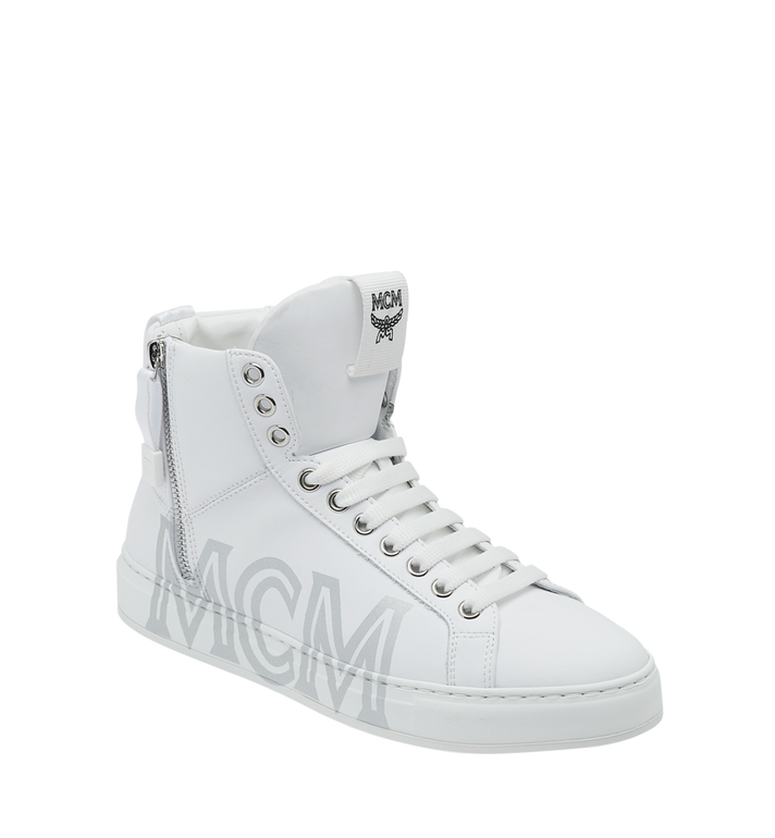 MCM Men's High Top Sneakers in Logo Leather Alternate View