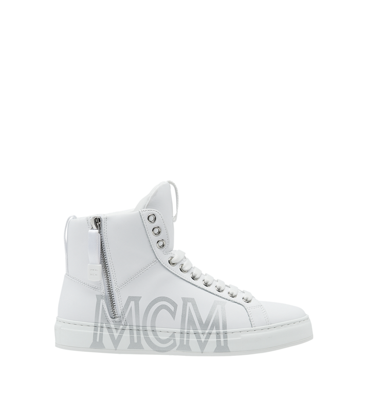 MCM Men's High Top Sneakers in Logo Leather Alternate View 2