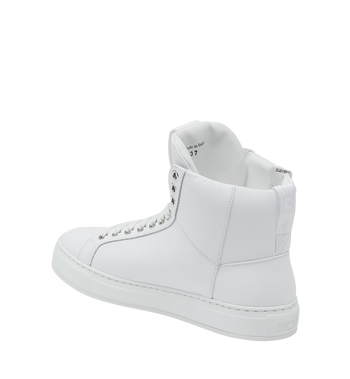 MCM Men's High Top Sneakers in Logo Leather Alternate View 3