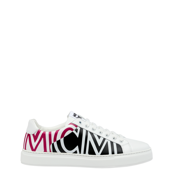 MCM Men's Low Top MCM Logo Sneakers in Leather White MEX9SMM17WT042 Alternate View 2