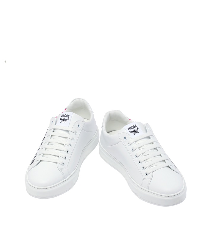 MCM Men's Low Top MCM Logo Sneakers in Leather White MEX9SMM17WT042 Alternate View 4