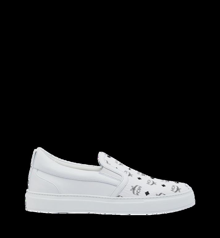 MCM Men's Slip On Sneakers in Visetos White MEX9SMM40WT042 Alternate View 2