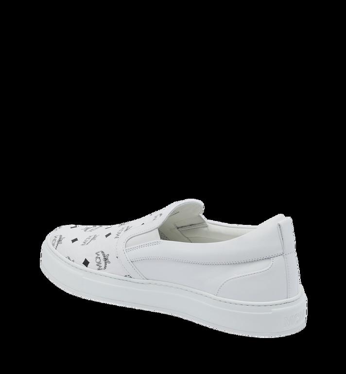 MCM Men's Slip On Sneakers in Visetos White MEX9SMM40WT042 Alternate View 3