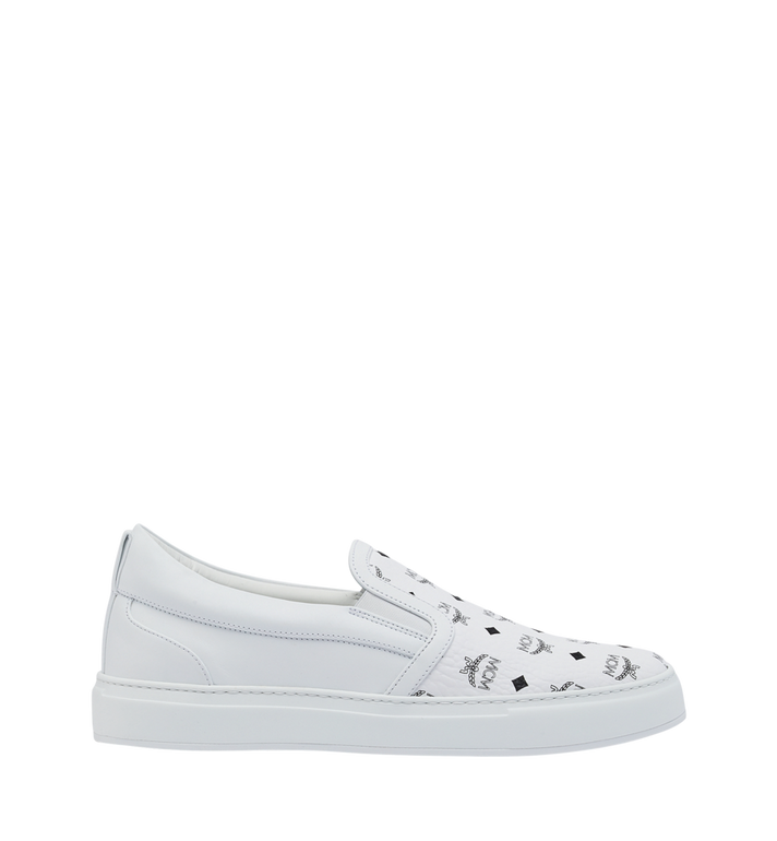 MCM Men's Slip On Sneakers in Visetos White MEX9SMM40WT044 Alternate View 2