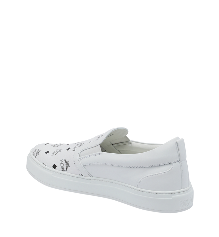 MCM Men's Slip On Sneakers in Visetos White MEX9SMM40WT044 Alternate View 3