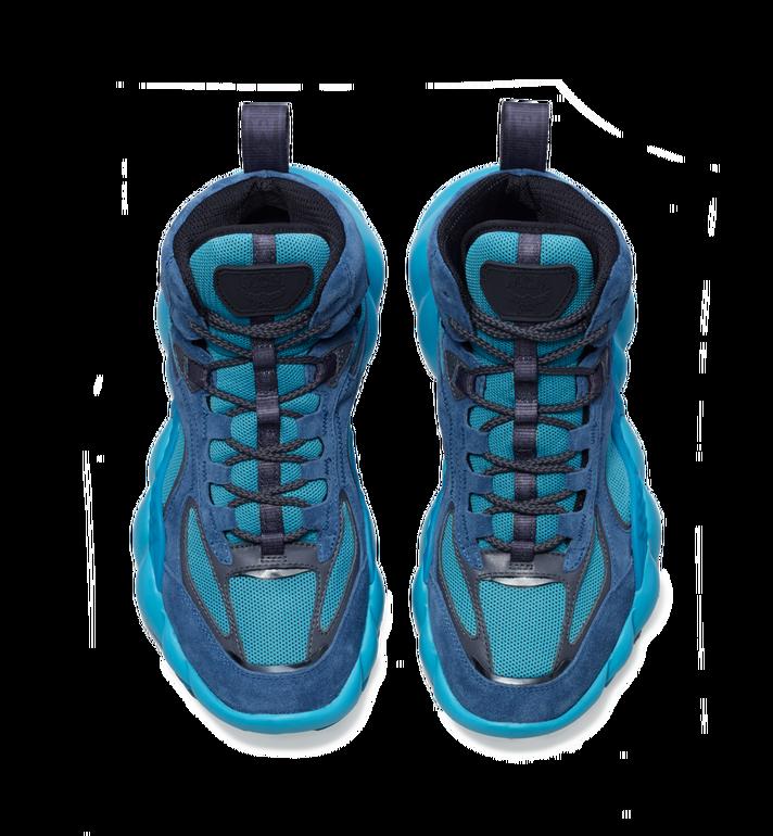 MCM Men's Himmel High Top Sneaker in Suede Blue MEX9SNX02LU042 Alternate View 4
