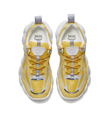 MCM Men's Himmel Low Top Sneakers in Suede Yellow MEX9SNX04YW042 Alternate View 4