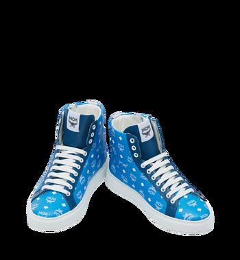 MCM Men's High Top Sneakers in White Logo Visetos Alternate View 4