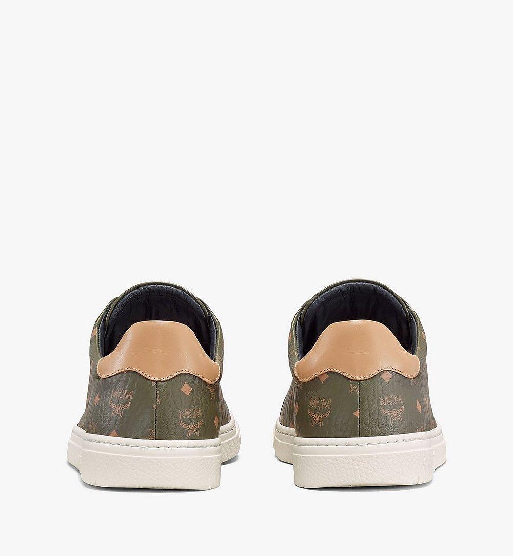 MCM Men's Terrain Lo Sneakers in Visetos Green MEXAAMM11JH042 Alternate View 2