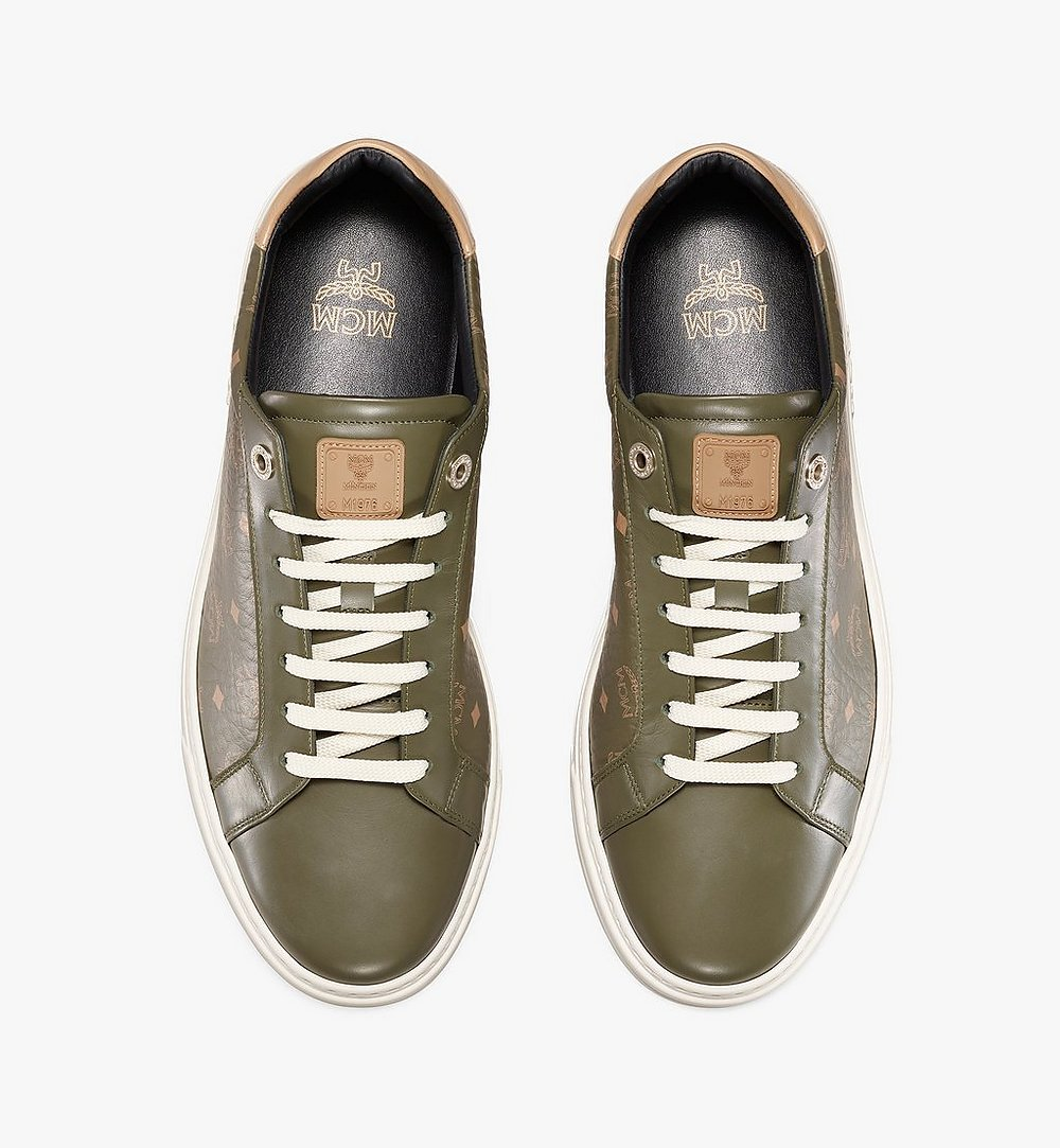 MCM Men's Terrain Lo Sneakers in Visetos Green MEXAAMM11JH042 Alternate View 4