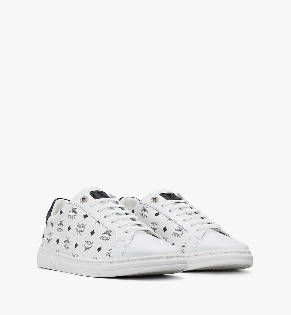 MCM Men's Terrain Lo Sneakers in Visetos White MEXAAMM11WT040 Alternate View 1