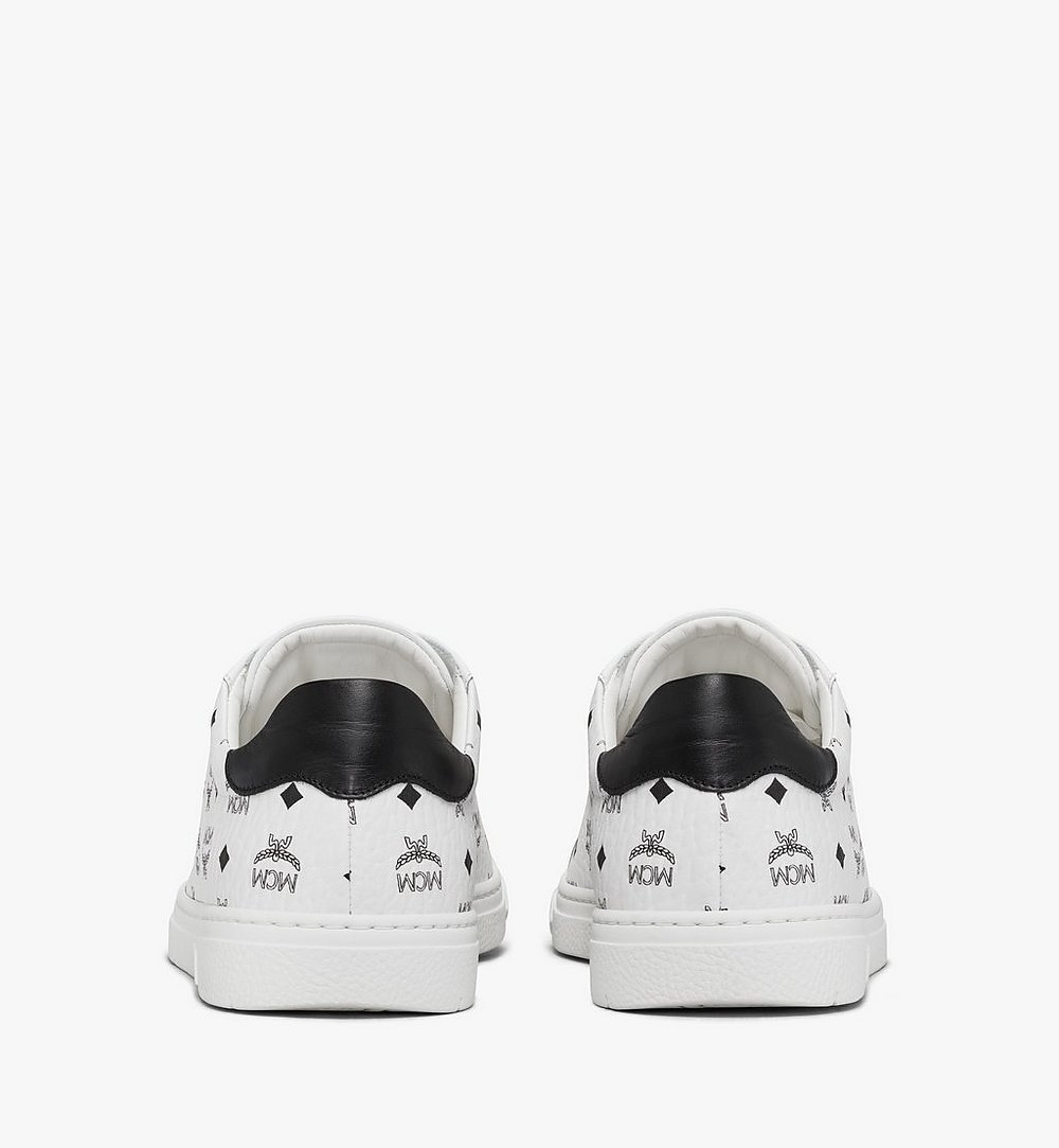 MCM Men's Terrain Lo Sneakers in Visetos White MEXAAMM11WT040 Alternate View 2