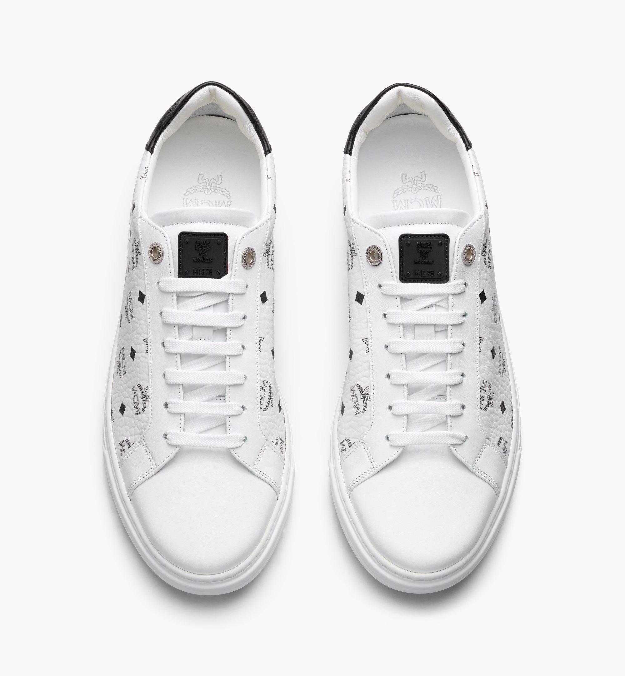 MCM Men's Terrain Lo Sneakers in Visetos White MEXAAMM11WT040 Alternate View 4