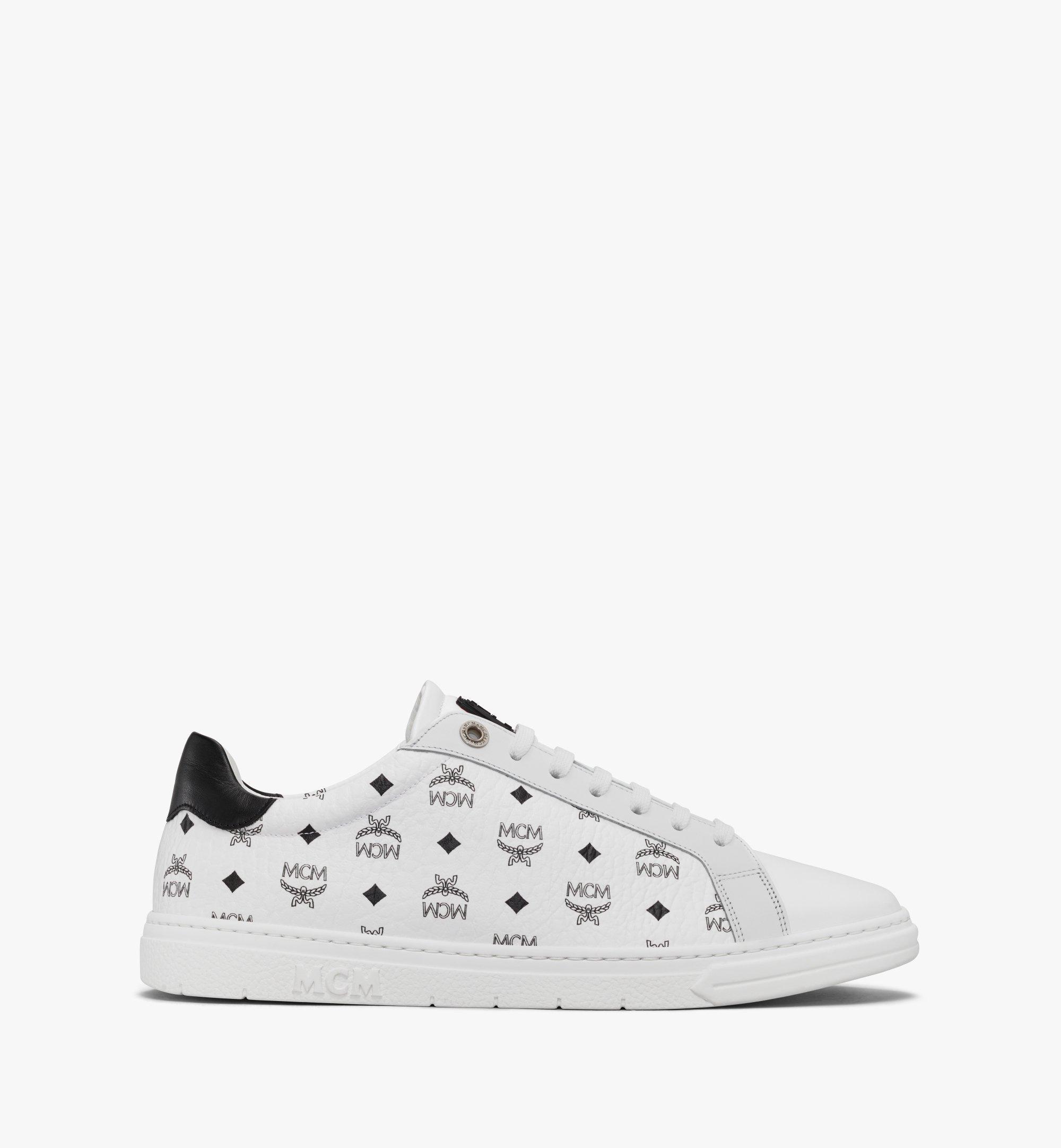 MCM Men's Terrain Lo Sneakers in Visetos White MEXAAMM11WT044 Alternate View 1