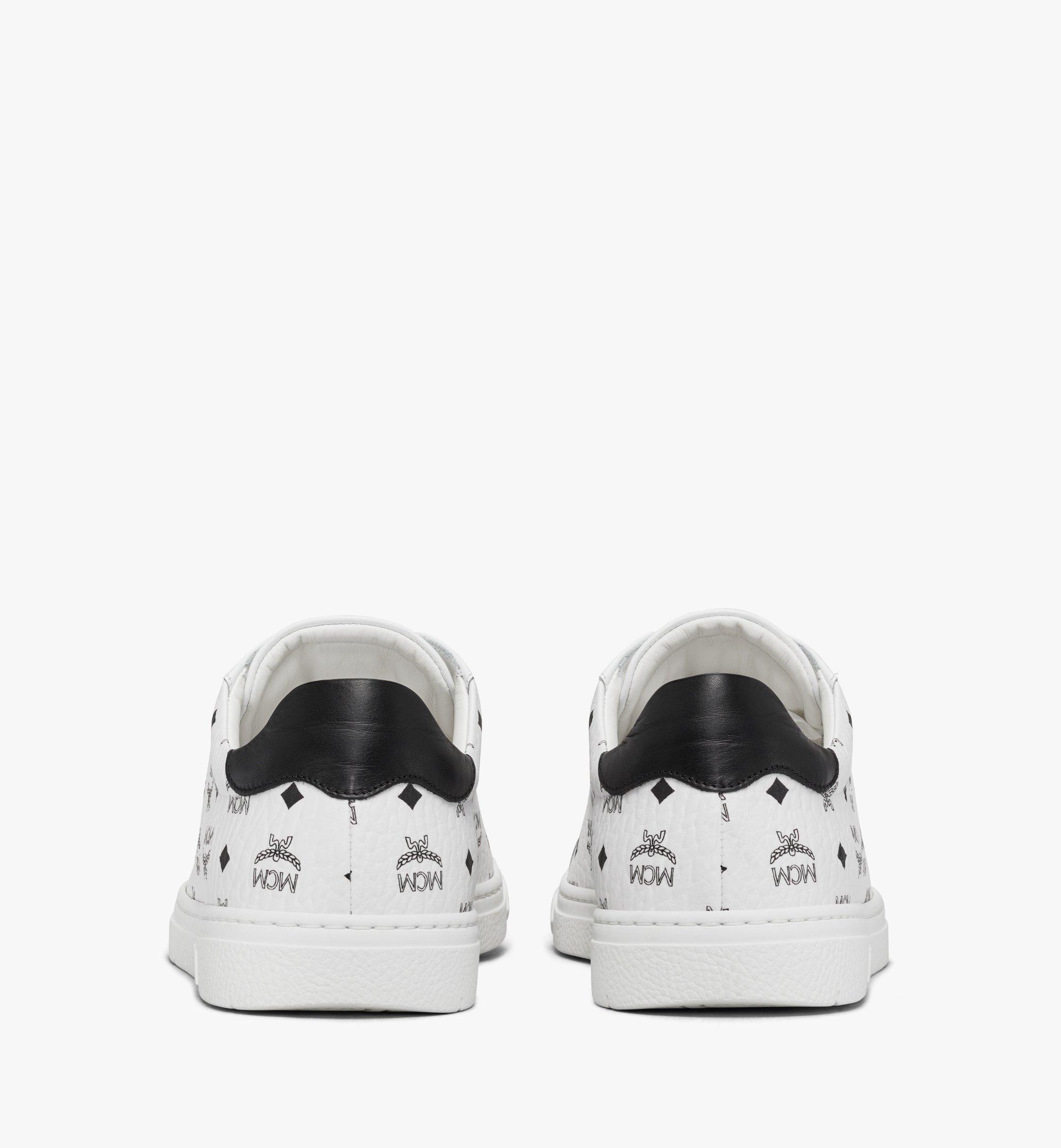 MCM Men's Terrain Lo Sneakers in Visetos White MEXAAMM11WT044 Alternate View 2