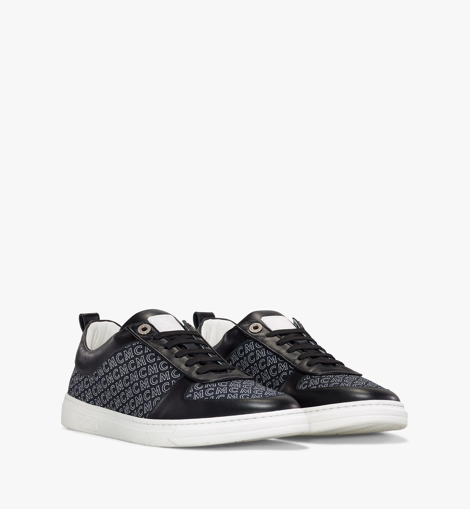 MCM Men's Terrain Lo Sneakers in Diagonal Monogram Canvas Black MEXAAMM12BK040 Alternate View 1