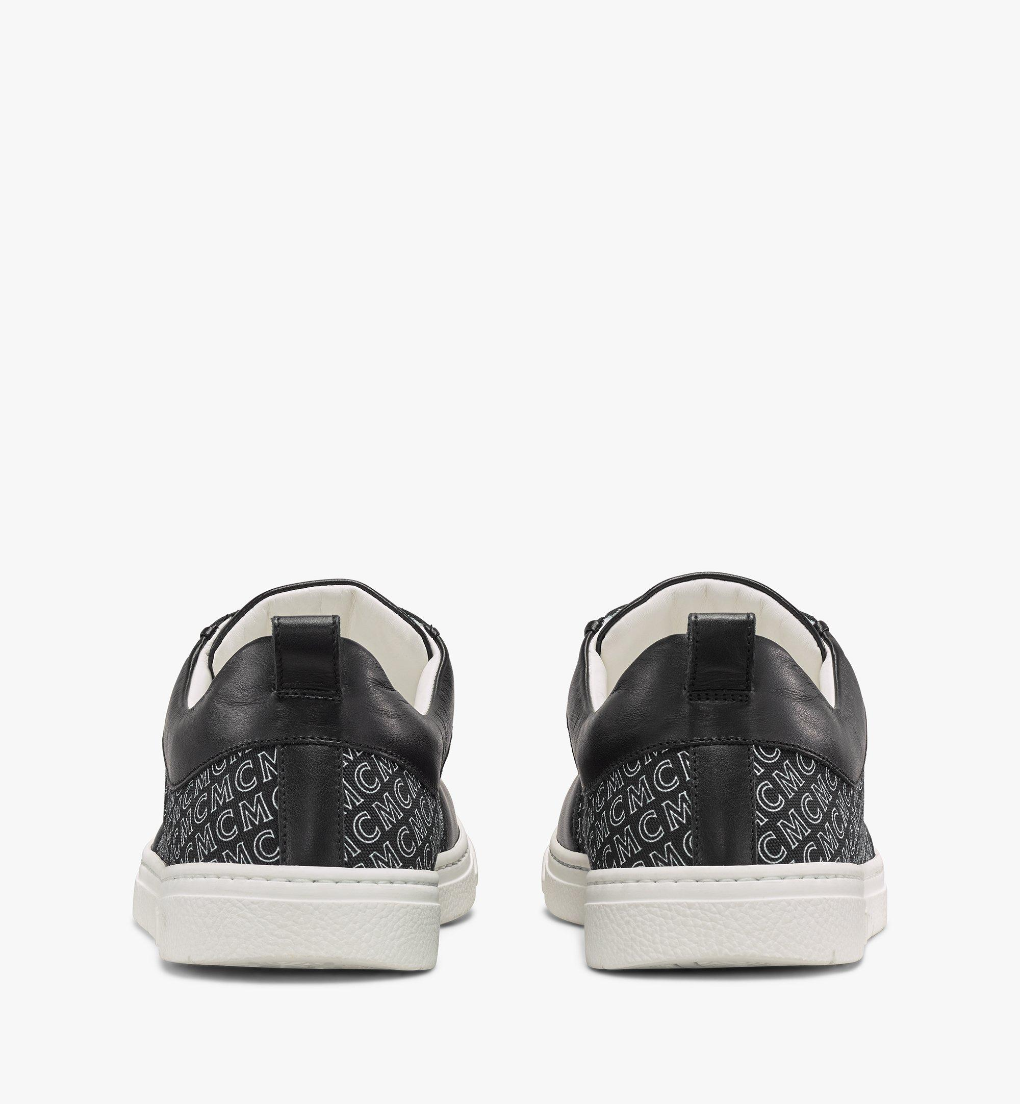 MCM 男士斜紋帆布花押字圖案低筒運動鞋 Black MEXAAMM12BK042 更多視圖 1