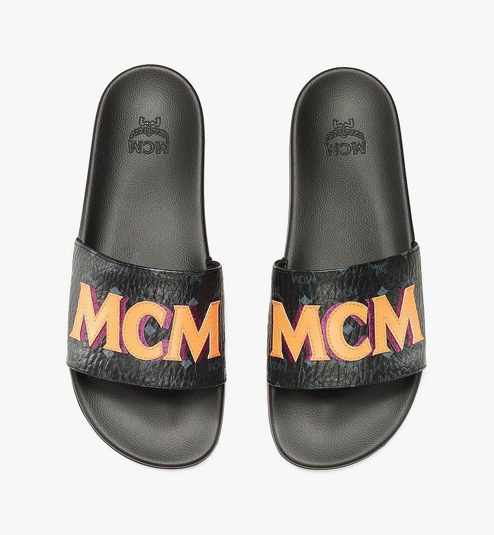 MCM Men's MCM Monogram Slides Black MEXAAMM16BK041 Alternate View 6