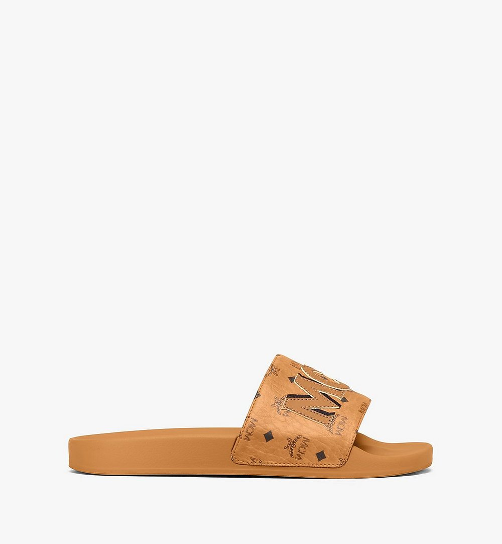 MCM Men's MCM Monogram Slides Cognac MEXAAMM16CO041 Alternate View 1