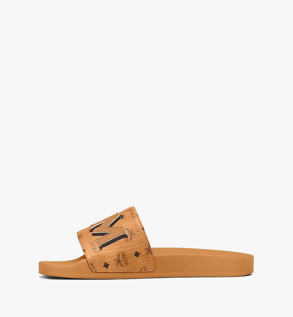 MCM Men's MCM Monogram Slides Cognac MEXAAMM16CO041 Alternate View 3
