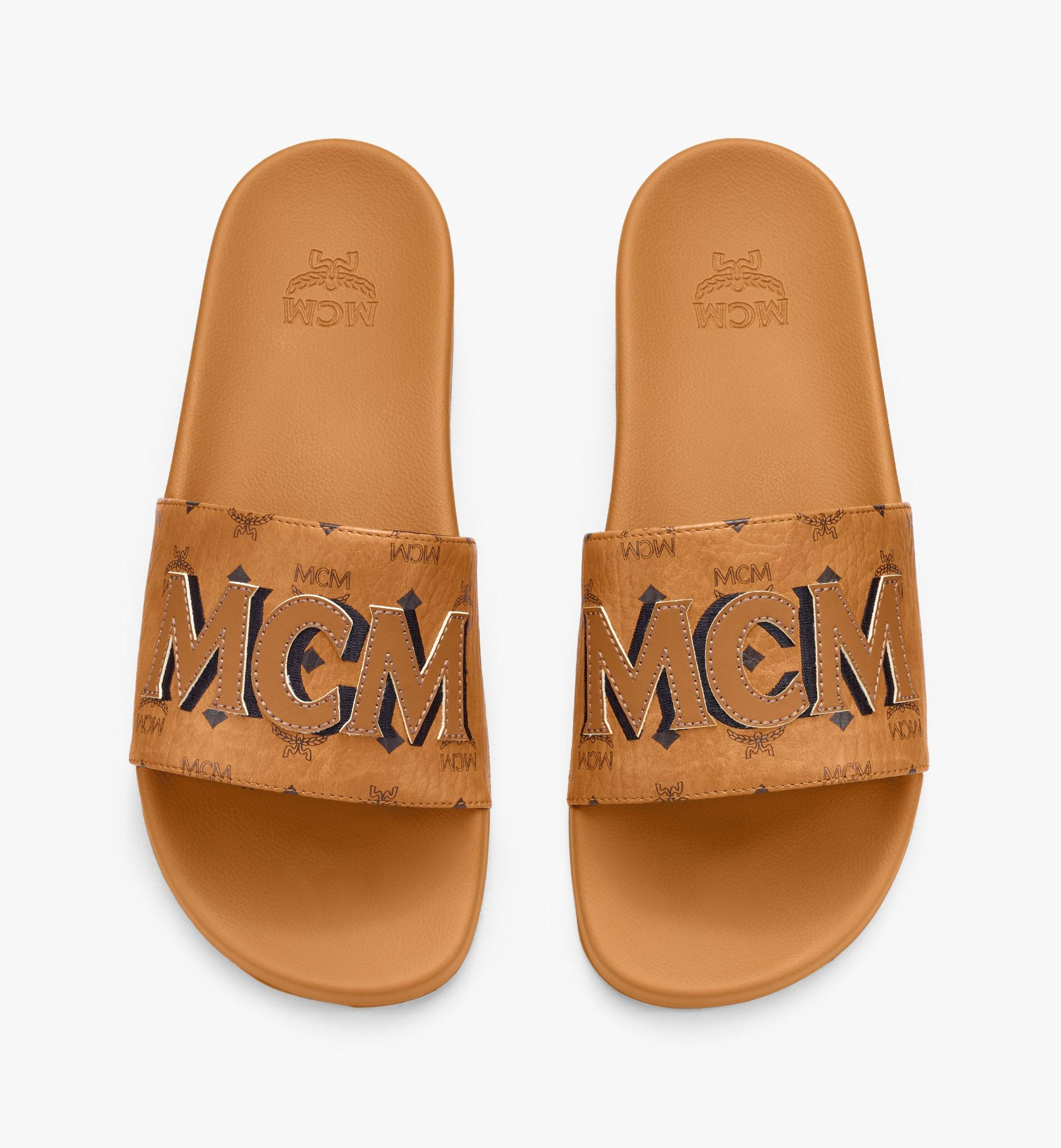 MCM Men's MCM Monogram Slides Cognac MEXAAMM16CO043 Alternate View 4