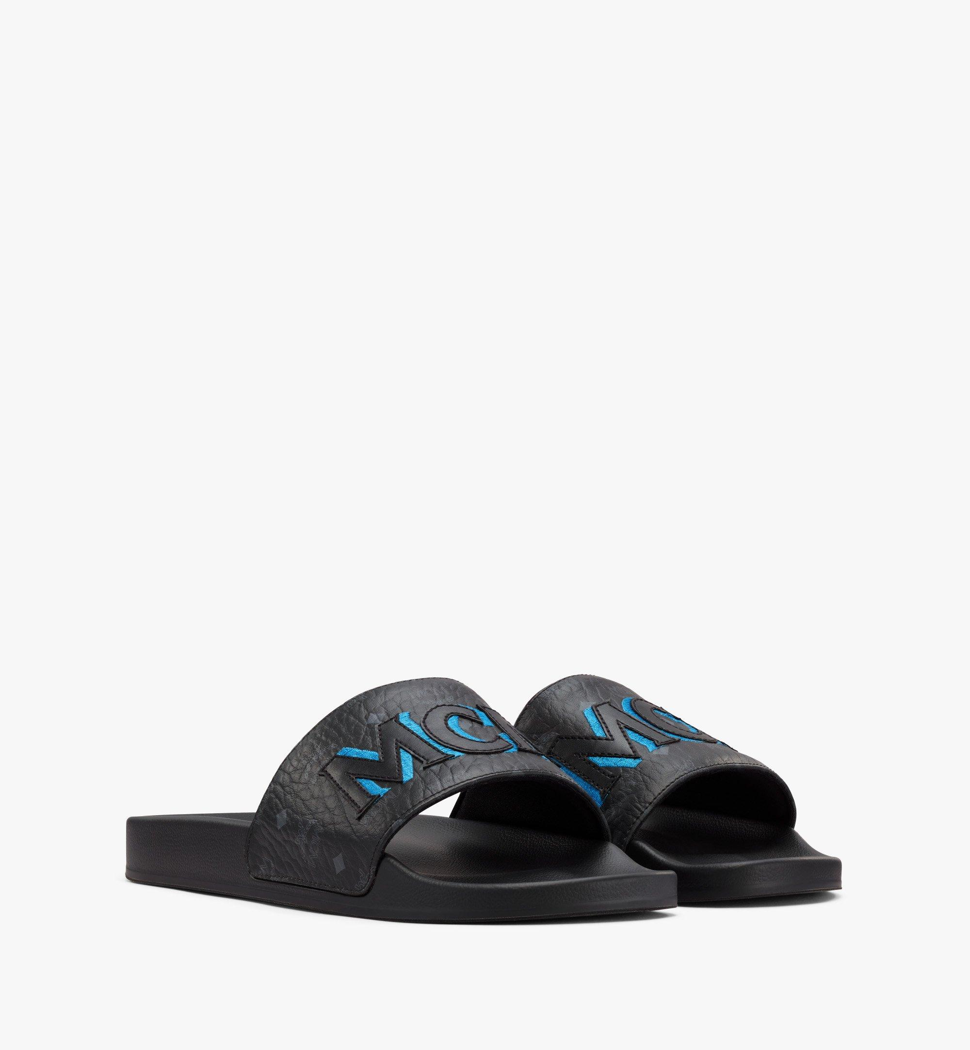 MCM Men's Visetos Patch Slides Blue MEXAAMM16H7041 Alternate View 1