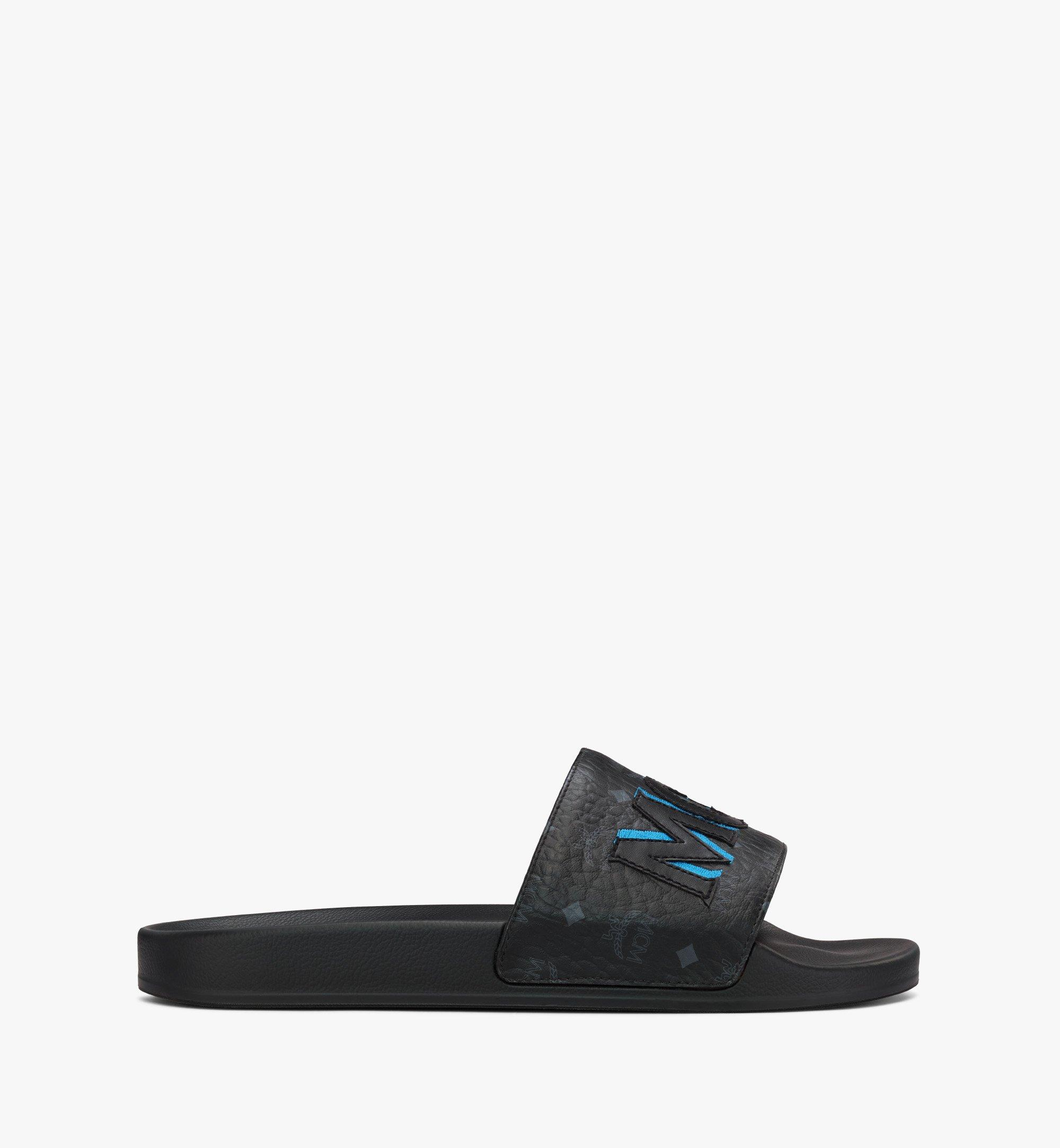 MCM Men's Visetos Patch Slides Blue MEXAAMM16H7041 Alternate View 3