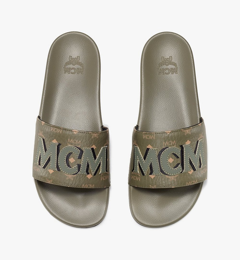 MCM Men's MCM Monogram Slides Green MEXAAMM16JH042 Alternate View 4