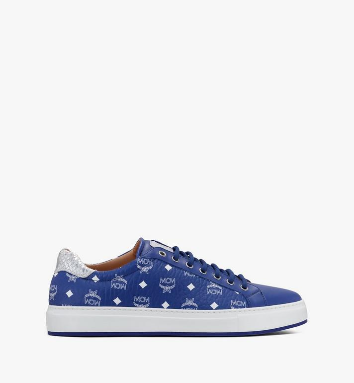 MCM Men's Low-Top Sneakers in Visetos Blue MEXASMM10H1041 Alternate View 2