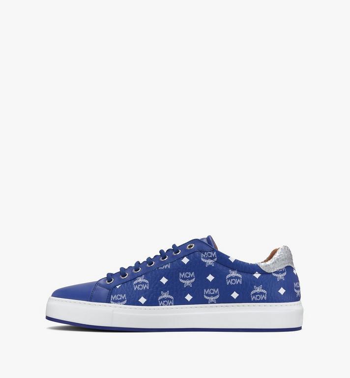 MCM Men's Low-Top Sneakers in Visetos Blue MEXASMM10H1042 Alternate View 4